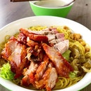 Egg noodles w charcoal grilled Char Siu & Roasted Belly Pork.