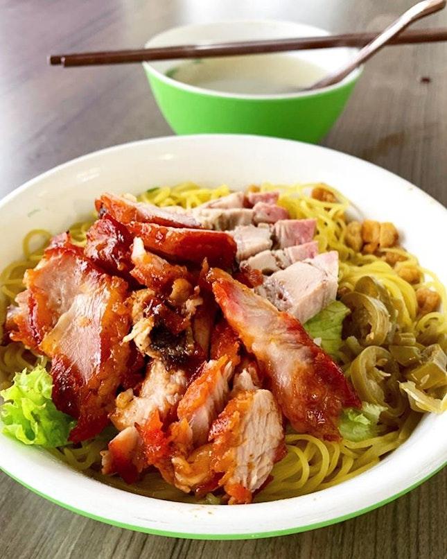 Egg noodles w charcoal grilled Char Siu & Roasted Belly Pork.