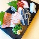 Sashimi _ Salmon belly, Octopus, Squid & Sardines.