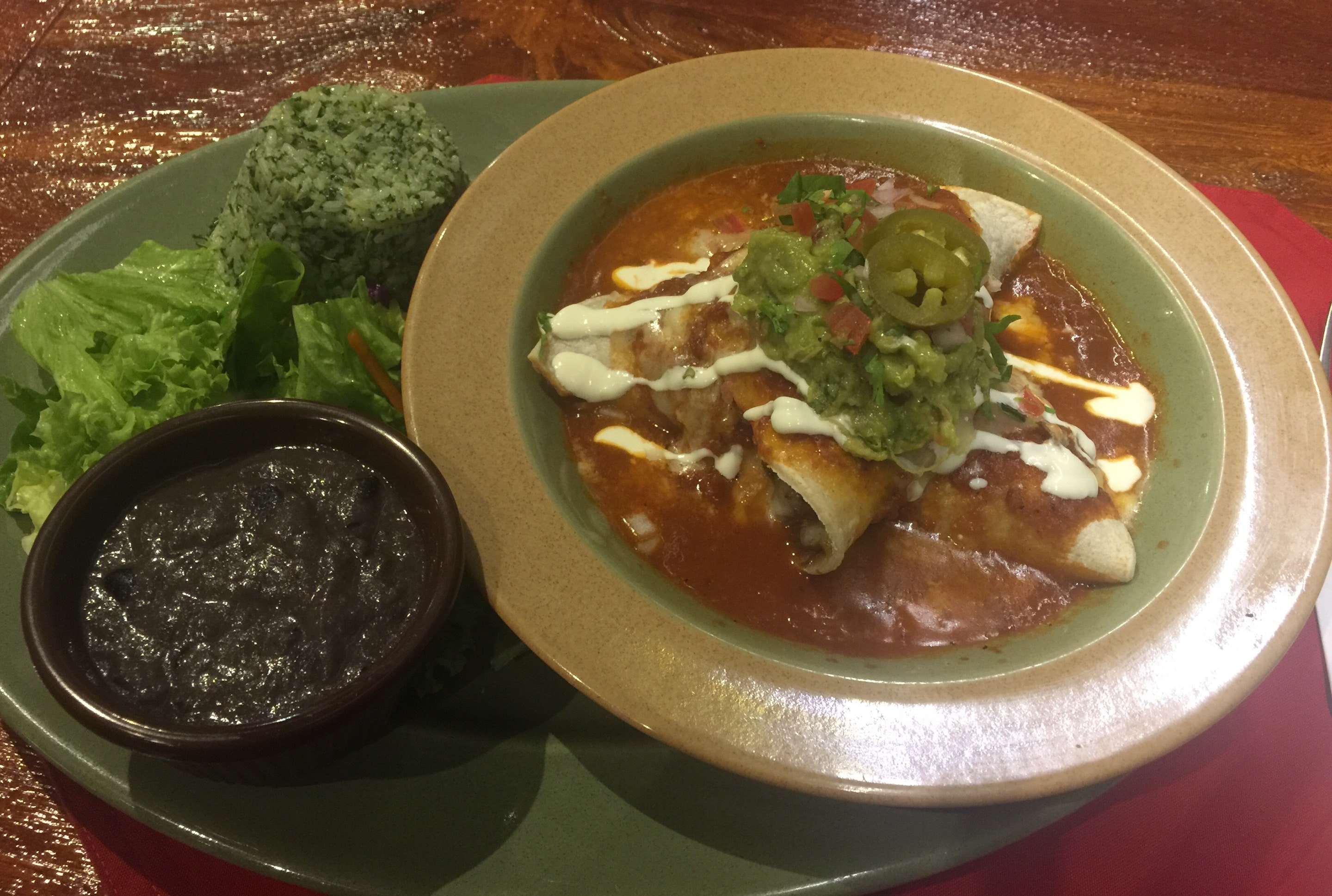 Beef Enchiladas With Mexican Rice and Refried Beans ($19)