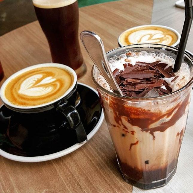 Iced Mocha ($7.50), Espresso+milk ($5.50) & Nitro Black Matter ($7, behind) Back to original jln besar hipster place.