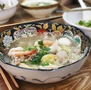 $15 No.4 fishball noodles comes with 2 mini abalone, upgraded prawns and a fancy bowl.
