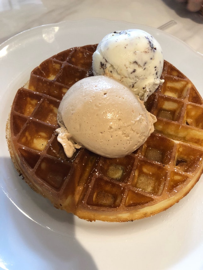 Waffles With Sea Salt Caramel And Stracciatella