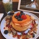house pancakes & iced matcha • $21.50