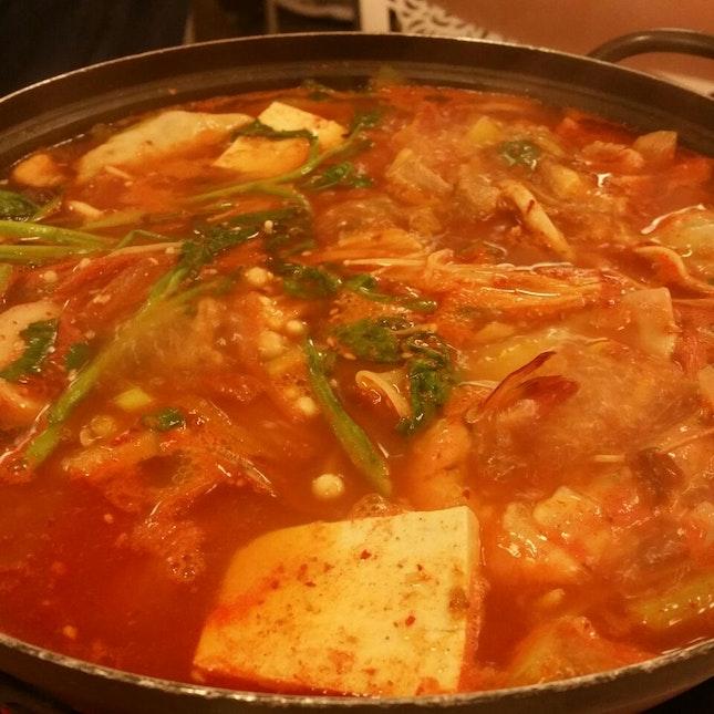 $34 kimchi stew + $3 ramyeon
