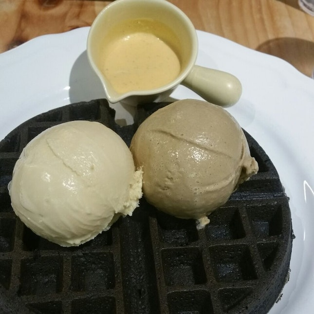 $16 for 2 charcoal waffles & 2 scoops