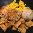 Salmon, Corn And Tofu Skins