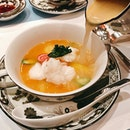 Astoundingly good Australian Lobster Soup with egg white, asparagus, carrot and lobster stock.