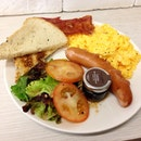 Big breakfast ($14): sausage, bacon, yummy scrambled eggs, mesclun salad and super good jam and toast!