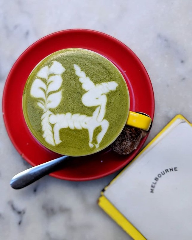 Best looking and tasting cup of matcha latte at @hardwaresociete, can Singapore's coffee price - @yiyangk make me this pretty stag?