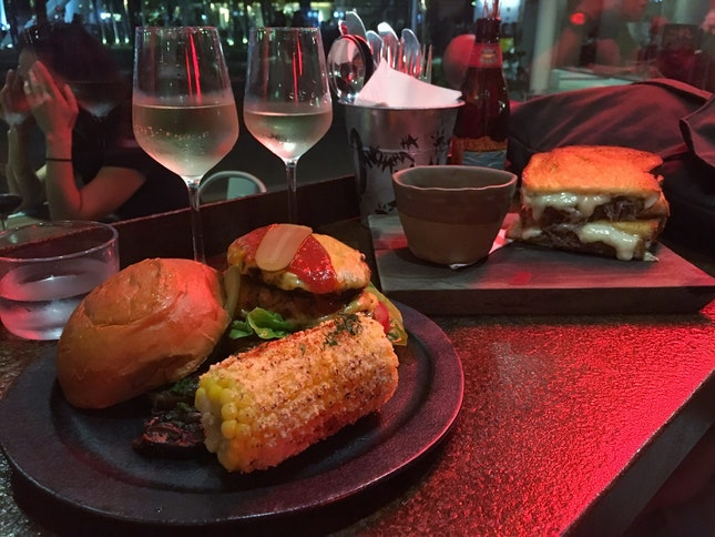 Pulled Pork Grilled Cheese Sandwich And Beef Burger