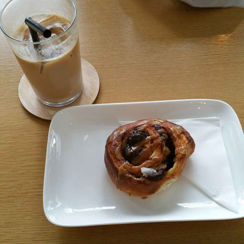 Iced White And A Chocolate Pastry