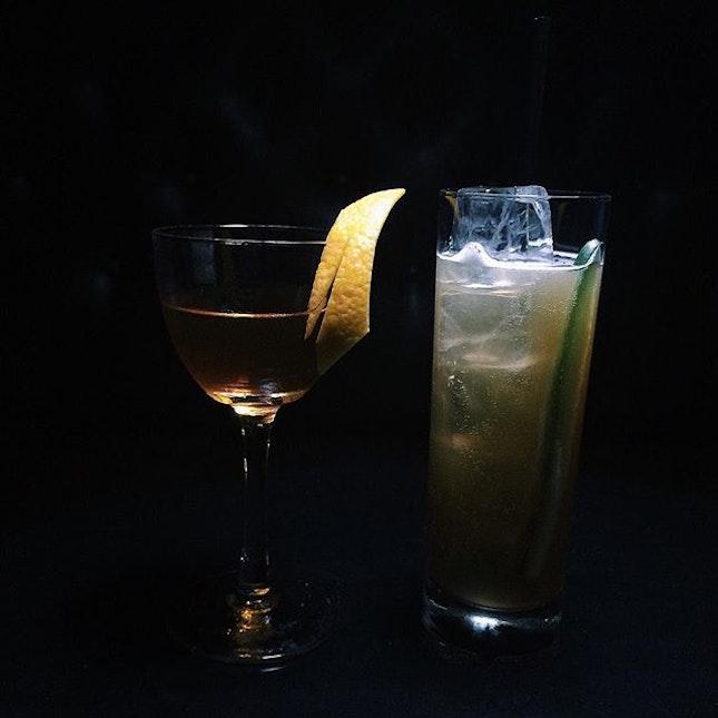 Tony Manero and Buck Bone Tea at the Cocktail-O-Clock event at L'Aiglon last night.