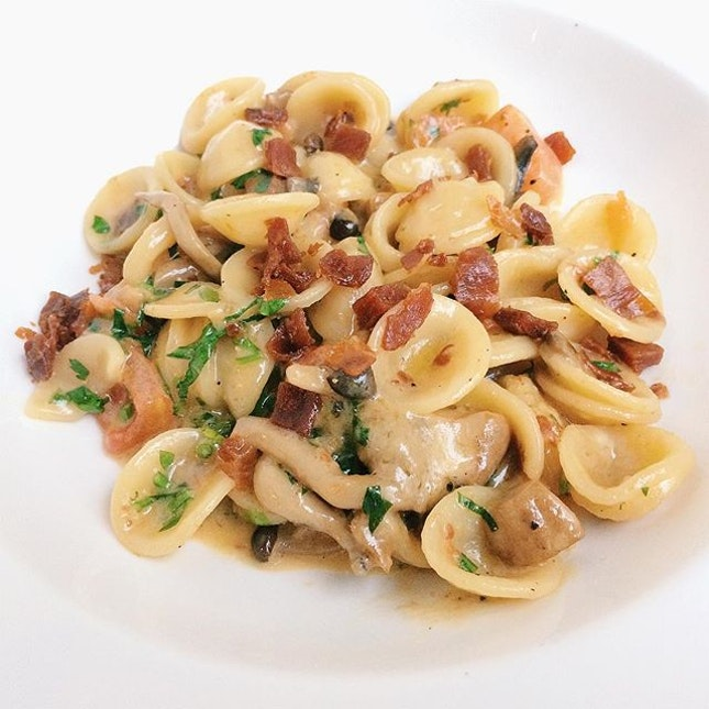 Orecchiette from In ITALY – forest mushrooms sauce and crispy parma ham.