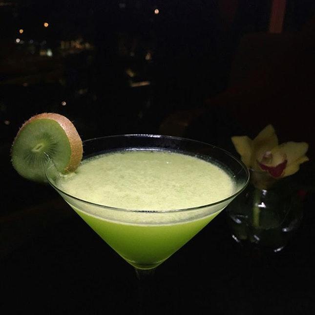 Fatback Ears Down: Hendrick's Emerald (Hendrick's gin, Midori, kiwi, basil, cucumber, lime juice) from Axis Bar and Lounge at Mandarin Oriental.