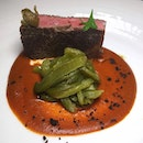 The Early Fatback: Angus Beef Striploin with Pizzaiola Sauce and Green Peppers from LaBrezza, St Regis Singapore.