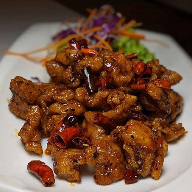 Glace Spicy Chicken from White Restaurant, Suntec City (@whitebeehoonrestaurant).