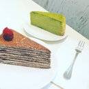 Green tea and raspberry mille crepe