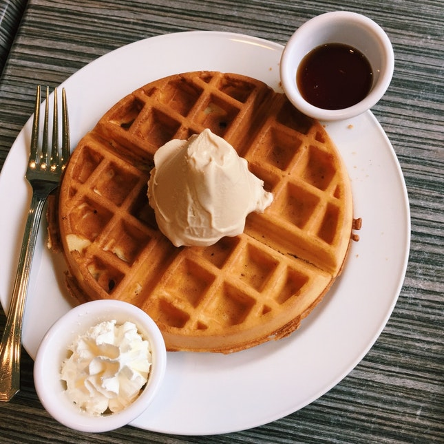 Waffles With A Scoop Of Cappuccino Ice Cream