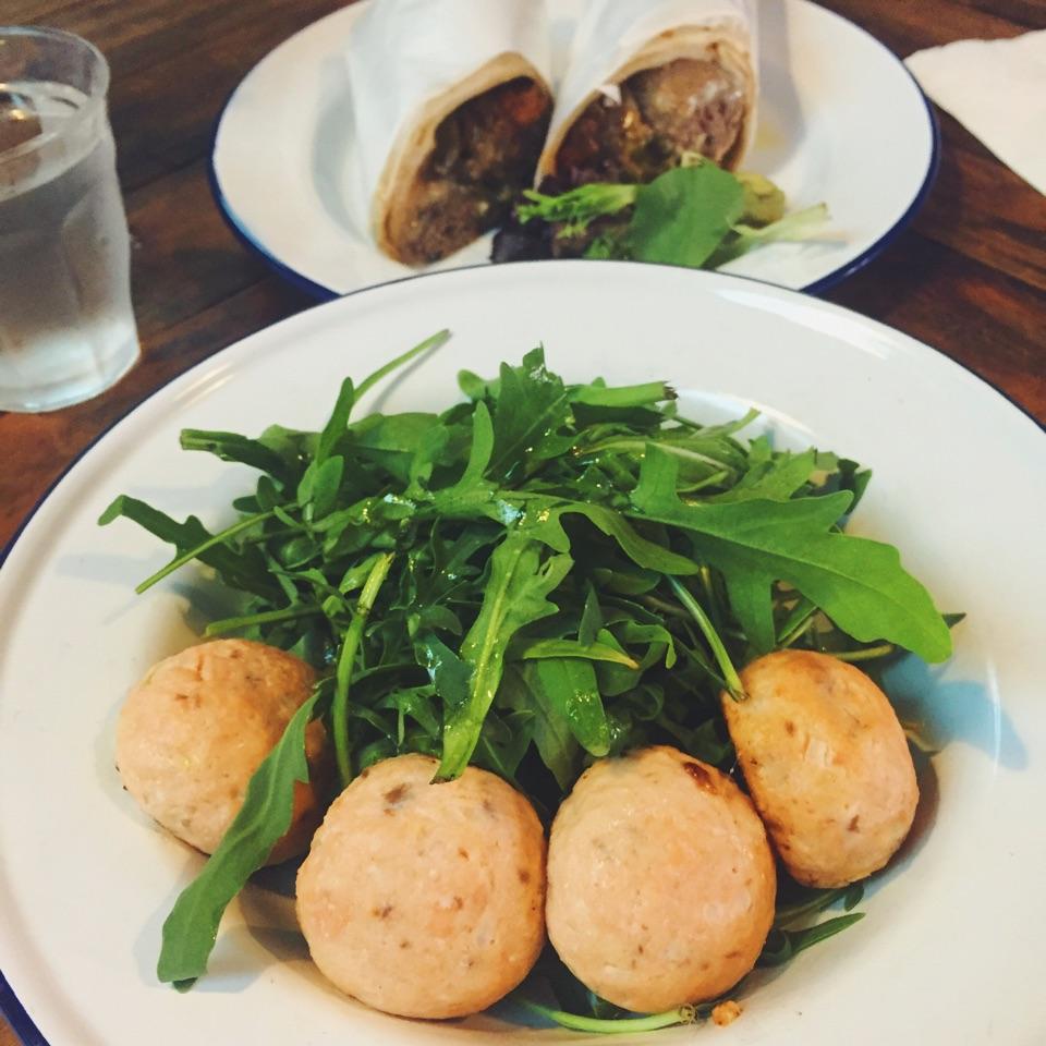 The Spaniards (Wagyu Balls, Sobrassada, Blue Cheese, Green Capsicum, Roasted Onions)  Salmon and Coriander Balls with Arugula Salad
