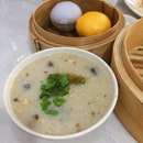 Century Egg Porridge, Salted Egg & Yam Custard Bao, Wanton Mee (Dry)
