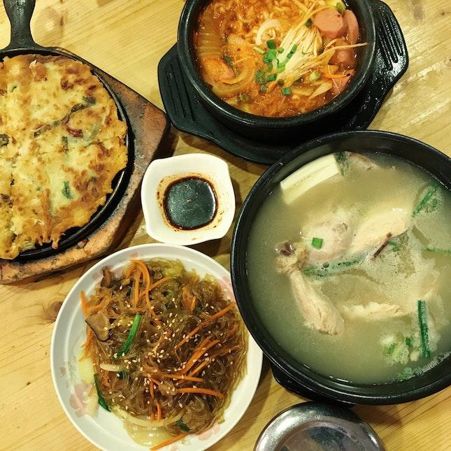 Japchae, Seafood Pancake, Ginseng Chicken Soup (Samgyetang), Army Stew