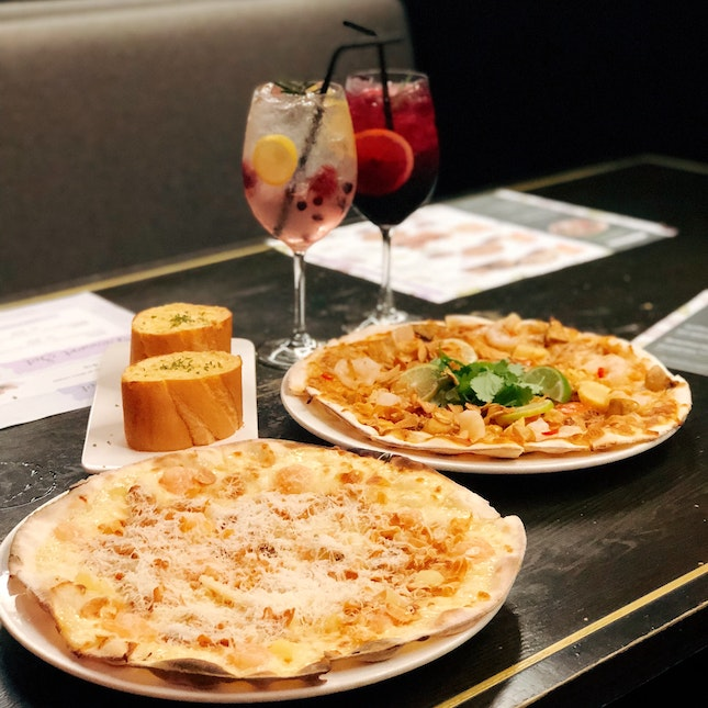 Garlic Snowing Pizza ($25++ U.P), Mad Tom Yum Pizza ($23++ U.P), Starter Set ($15++)