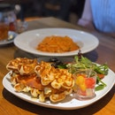 Smoked Salmon & Egg Grilled Waffles Sandwich ($17++ U.P.); On Burpplebeyond