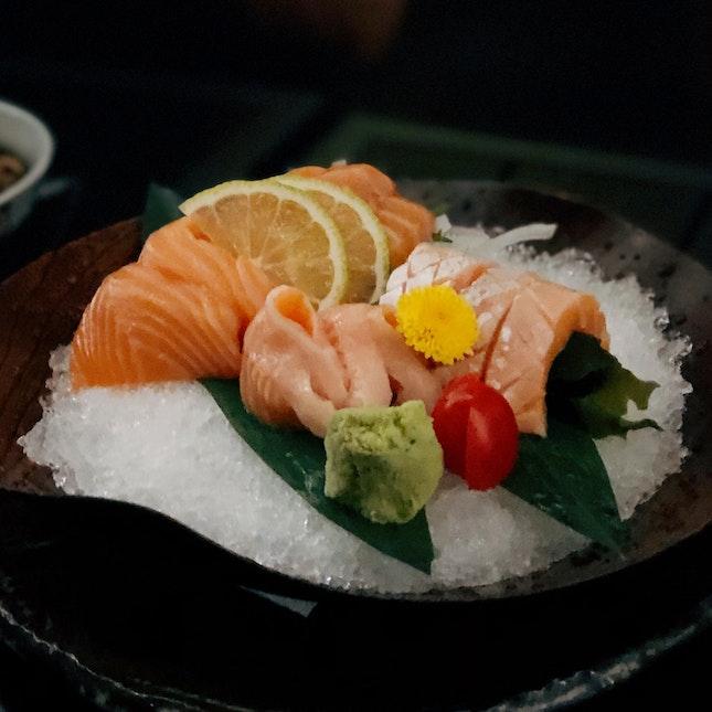 Salmon 5pcs ($14++ U.P.), Salmon Belly 5pcs ($16++ U.P.)