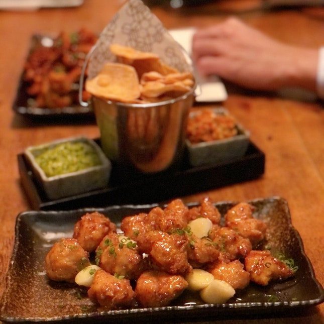 Honey Butter Chicken ($18++), Tofu Chips ($14++)