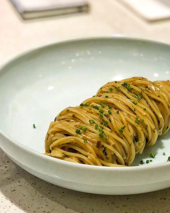 Cold Pasta, Konbu and Truffle Oil ($23)