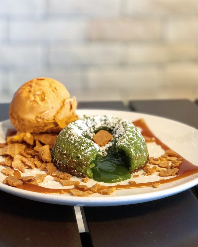 Matcha Lava Cake with Thai Tea Ice Cream
