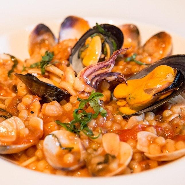 Sardinian fregola with seafood #igsg #igers #igfood #instafood #instadaily #instafollow #food #foodie #foodsg #foodpic #foodgasm #foodporn #foodstagram #sgig #sgfoodie #singapore #singaporefood #foodblogging #foodblogger #sgfood #sgfoodie #instalater #latergram #canon #6d #burpple #setheats