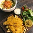 Chicken Schnitzel ($18) and Seafood Macaroni & Cheese ($20)