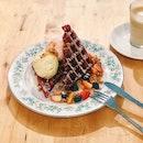 Truffle Red Velvet Waffles ($13.90)