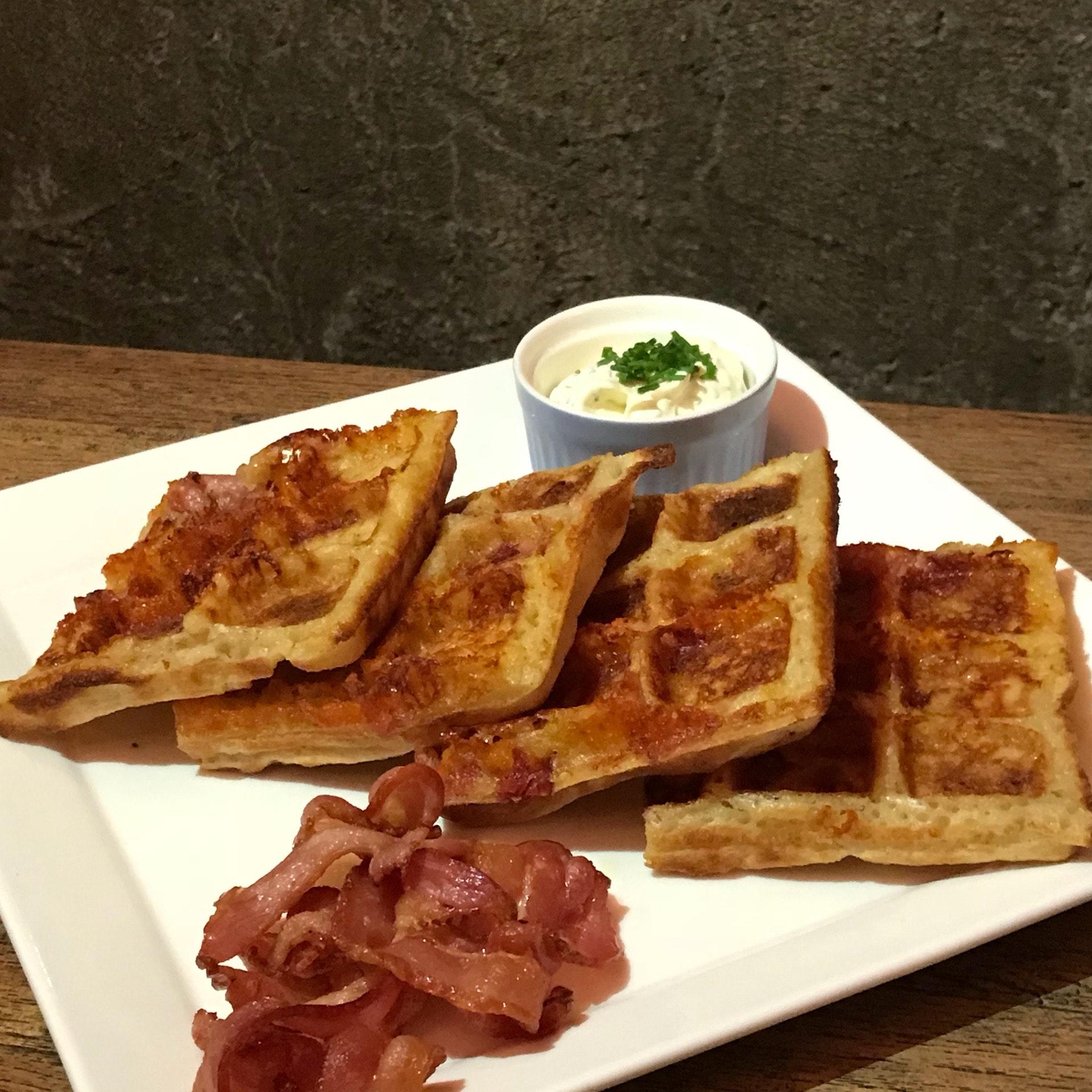 Cheddar Cheese Bacon Waffles [$19]