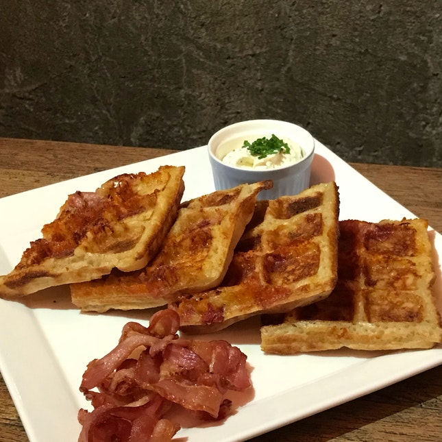 Cheddar Cheese Bacon Waffles [$19]