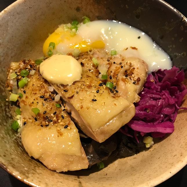 Kabuki -garlic soy chicken thigh, Dijon mustard, onsen egg, sautéed mushrooms, cabbage slaw [$16]