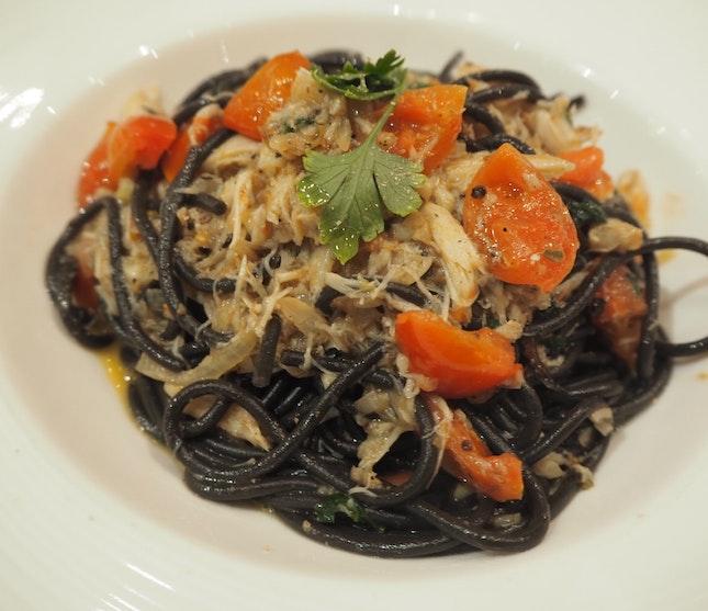 Off the menu special - Tonarelli squid ink pasta with crabmeat & juicy tomatoes [$48]