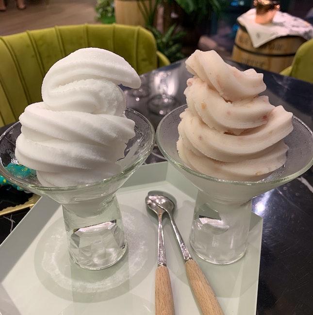 Coconut sorbet & Lychee Rose sorbet [$4.80/each]