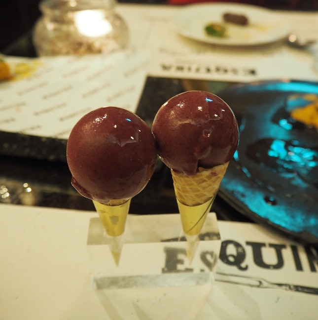 Shangria sorbet (served with order of warm chocolate fondant)