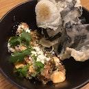 Spicy Salmon Tartare | Japanese Mayonnaise, Sriracha, Crystal Pear, Furikake, Crispy Seaweed [$16]