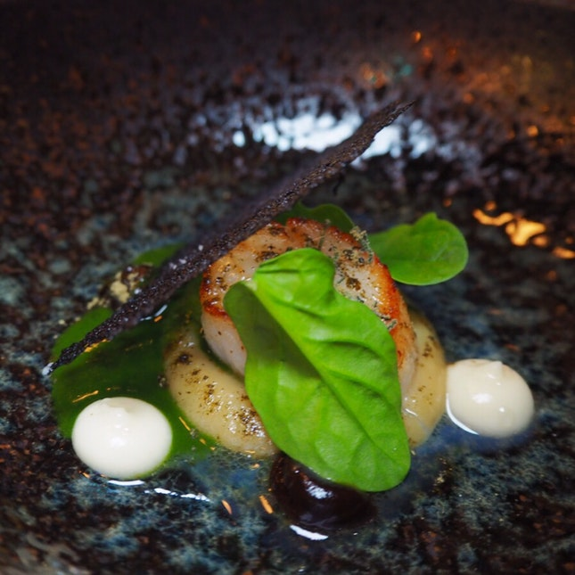 Fourth Expression (out of 7): Sage, garlic, spinach, scallop [$168]