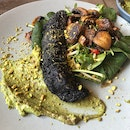 Blackened Barramundi - Squid Ink | Pistachio Pesto | Spiced Sprout Salad [$28]