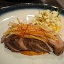 Pork   Corn - szechuan gremolata, sweet corn purée, salted popcorn [$24]