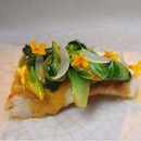Course 4/7: Barbecued turbot, fermented bell pepper, Horse Ears [$198]