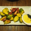 Crispy Brussel sprouts | Mirin glazed bacon | karashi [$15/28]