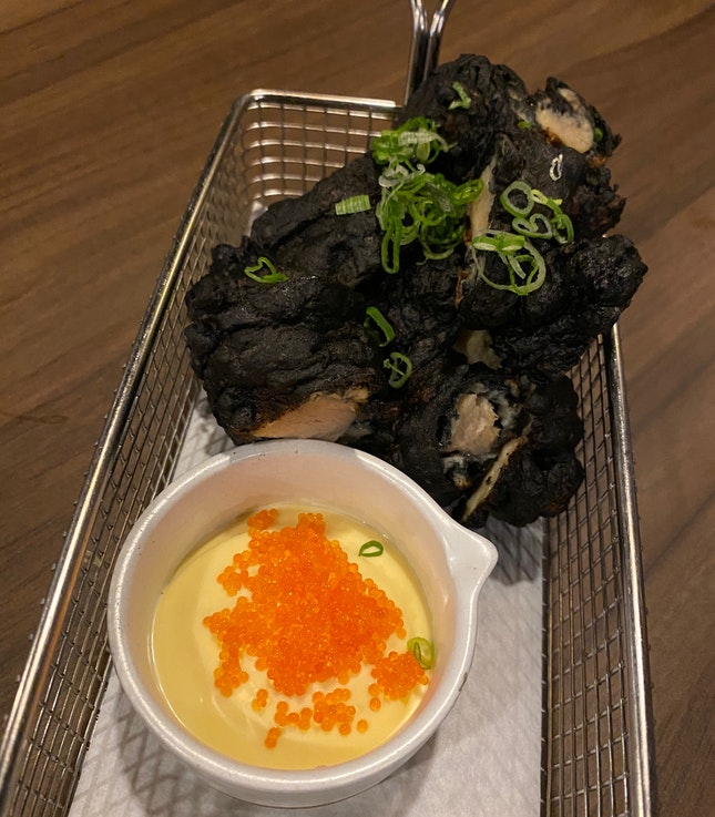 "Signature charcoal Karaage - ""Charcoal batter"" fried spiced chicken with tobiko mayo [$12.80]"