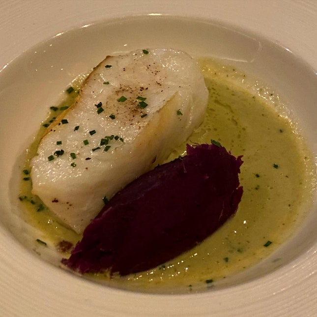 Atlantic Cod fillet with smoked purple potato mash anchovies emulsion