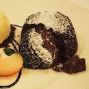 Warm chocolate cake with Haitian vanilla ice cream